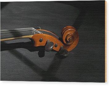 Violin In Shadow Wood Print by Mark McKinney