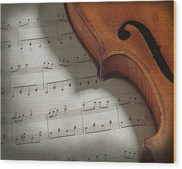 Violin Wood Print by Krasimir Tolev