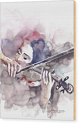 Wood Print featuring the painting Violin Prelude by Faruk Koksal