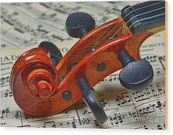 Violin Scroll Up Close Wood Print by Paul Ward