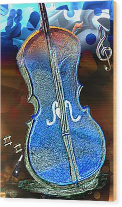 Wood Print featuring the painting Violin Solo by Paula Ayers
