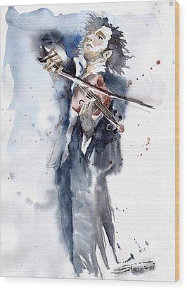 Violine Player 1 Wood Print by Yuriy  Shevchuk