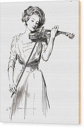 Violinist 1910 Wood Print