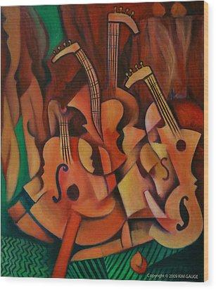 Violins With Mandolin Wood Print