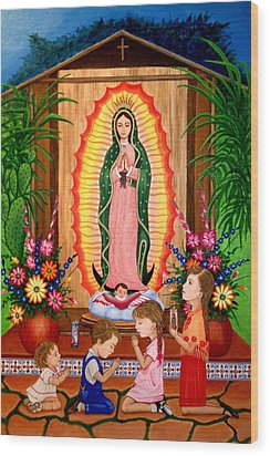 Wood Print featuring the painting Virgen De Guadalupe #3 by Evangelina Portillo
