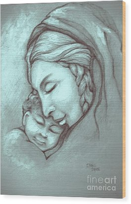 Virgin And Child Wood Print by Craig Green