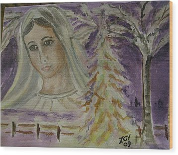 Virgin Mary At Medjugorje Wood Print