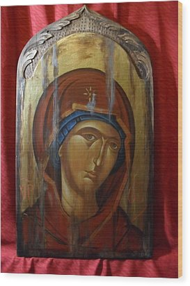 Virgin Mary Byzantine Icon Wood Print by Lefteris Skaliotis