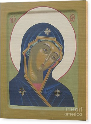 Virgin Mary Icon Wood Print by Seija Talolahti