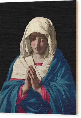 Virgin Mary In Prayer Wood Print by Sassoferrato