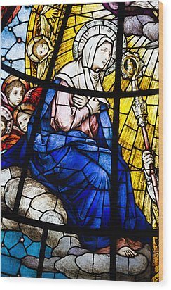 Virgin Mary In Stained Glass Wood Print by Dancasan Photography