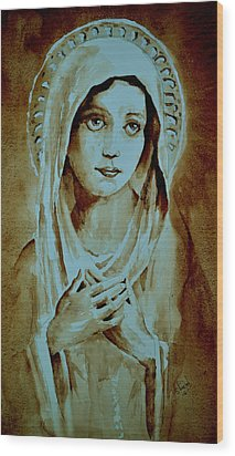 Wood Print featuring the painting Virgin Mary by Steven Ponsford