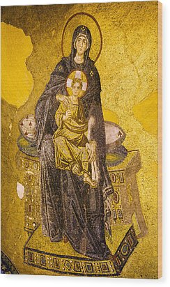 Virgin Mary With Baby Jesus Mosaic Wood Print