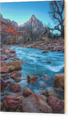Virgin River Before The Watchman Wood Print by Laura Palmer