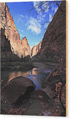 Virgin River Wood Print by Darryl Wilkinson