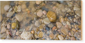 Virgin River Pebbles Wood Print by Adam Pender