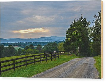 Virginia Road At Sunset Wood Print by Alex Zorychta
