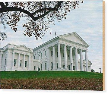 Virginia State Capitol In Autumn Wood Print