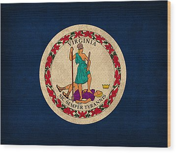 Virginia State Flag Art On Worn Canvas Wood Print by Design Turnpike