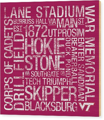 Virginia Tech College Colors Subway Art Wood Print by Replay Photos
