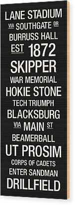 Virginia Tech College Town Wall Art Wood Print by Replay Photos