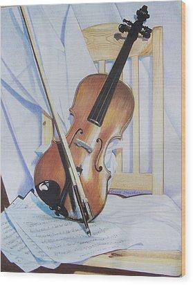 Virginia's Violin Wood Print by Constance Drescher