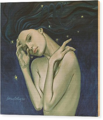 Virgo  From Zodiac Series Wood Print by Dorina  Costras