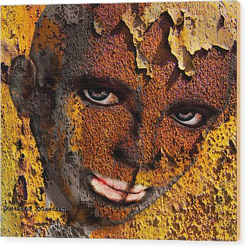 Virtual Face In Grafitti Wood Print by Yvon van der Wijk