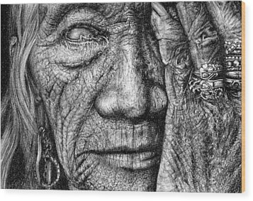 Wood Print featuring the drawing Vision by Penny Collins