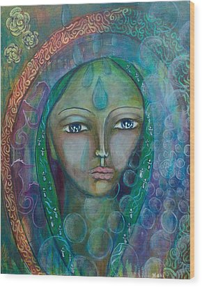 Visioning Woman Of Living Waters Wood Print by Havi Mandell