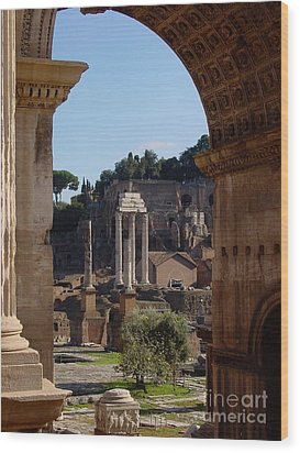 Visions Of Rome Wood Print by Nancy Bradley