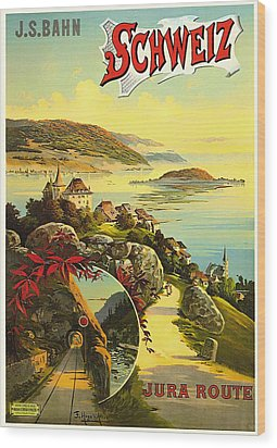 Visit Switzerland 1895 Wood Print by Mountain Dreams