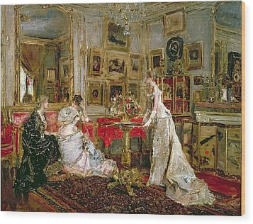 Visiting Wood Print by Alfred Emile Stevens