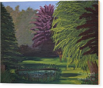 Visitor To The Backyard Pond Wood Print by Vicki Maheu