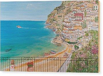 Wood Print featuring the painting Vista Su Positano by Loredana Messina