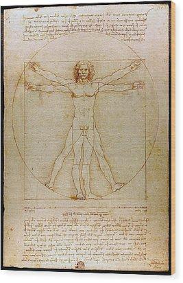 Vitruvian Man By Leonardo Da Vinci  Wood Print by Karon Melillo DeVega