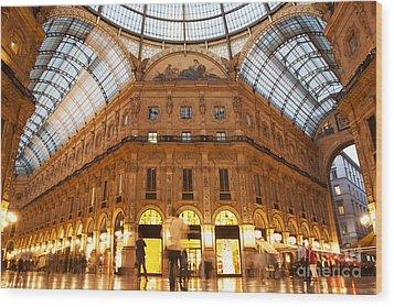 Vittorio Emanuele II Gallery Milan Italy Wood Print by Michal Bednarek