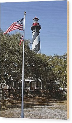 Viva Florida - The St Augustine Lighthouse Wood Print by Christine Till