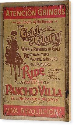 Viva Revolucion - Pancho Villa Wood Print
