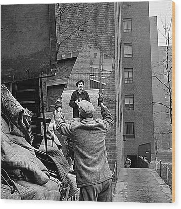 Vivian Maier Self Portrait Probably Taken In Chicago Illinois 1955 Wood Print by David Lee Guss