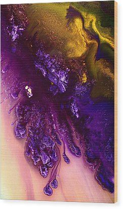 Vivid Abstract Art Purple Fugitive-gold Tones Fluid Painting By Kredart Wood Print by Serg Wiaderny
