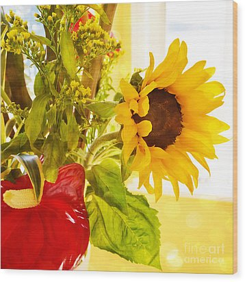 Vivid Cheery Sunflower Bouquet Wood Print