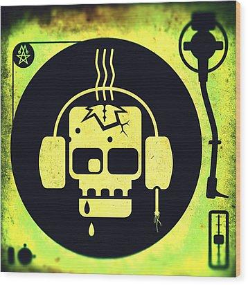 Wood Print featuring the digital art Vivid Zombie Turntable by Milton Thompson