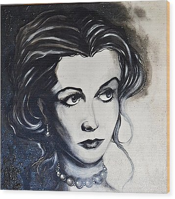 Wood Print featuring the painting Vivien L. by Sandro Ramani