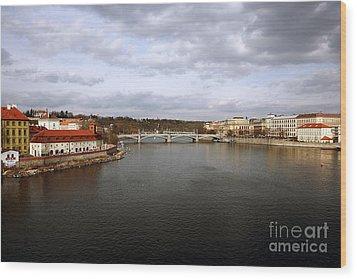 Vltava River View Wood Print by John Rizzuto