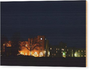 Wood Print featuring the photograph Vmi Night Lights by Cathy Shiflett