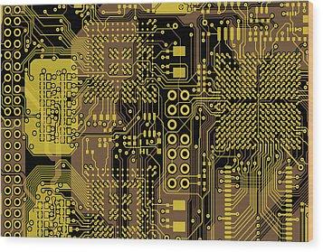 Vo96 Circuit 5 Wood Print by Paul Vo