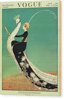 Vogue Cover Featuring A Woman Sitting On A Giant Wood Print by George Wolfe Plank