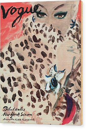 Vogue Cover Illustration Of A Woman Peering Wood Print