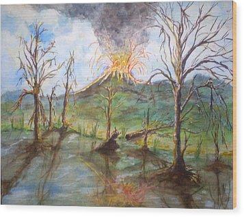 Volcano Wood Print